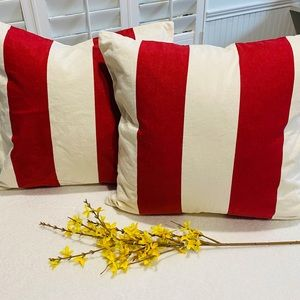 Pottery Barn Set of 2 Red Stripe Pillow Covers